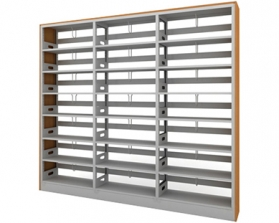 双柱单面钢木书架